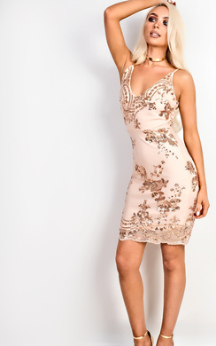 View the Rose Sequin Bodycon Dress online at iKrush