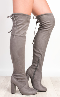 View the Annie Faux Suede Knee High Boots online at iKrush