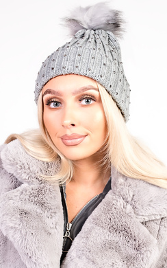 View the Helly Faux Fur Thick Knit Diamante Hat online at iKrush