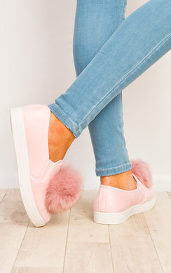 View the Aliana Pompom Faux Suede Trainers online at iKrush