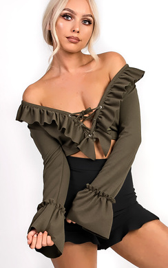 View the Styla Tie Front Bell Sleeve Crop Top online at iKrush