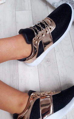 View the Sasha Rose Gold  Lace Up Trainers online at iKrush