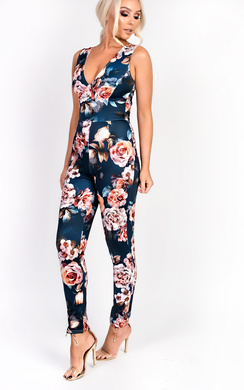 View the Dawci Floral Cross Over Slim Jumpsuit online at iKrush