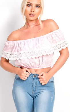 View the Hailey Bardot Gingham Frill Top online at iKrush