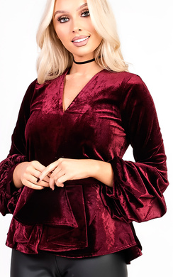 View the Rozlyn Ruffle Sleeve Peplum Velvet Top online at iKrush