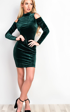 View the Elouise Velour Cold Shoulder Bodycon Dress online at iKrush