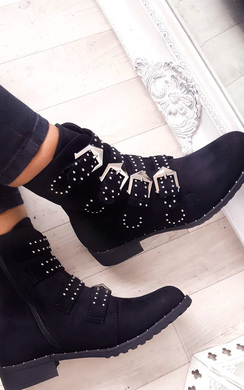 View the Alexis Studded Buckle Faux Suede Ankle Boots online at iKrush