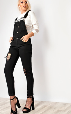 View the Addy Black Ripped Dungarees online at iKrush