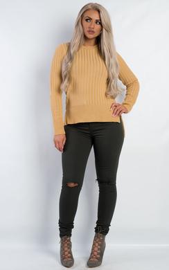View the Raya Ribbed Knitted Jumper online at iKrush
