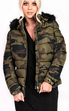 View the Josephine Camo Padded Faux Fur Hooded Jacket online at iKrush