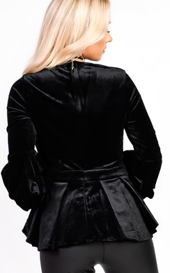 View the Reila Ruffle Sleeve Peplum Velvet Top online at iKrush