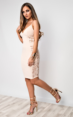 View the Cadence Strappy Lace Bodycon Dress online at iKrush