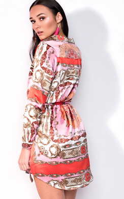 View the Kyra Paisley Print Satin Shirt Dress online at iKrush