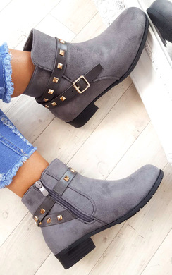 View the Alexia Studded Faux Suede Ankle Boots online at iKrush