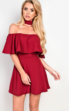 View the Taliyah Choker Neck Skater Dress online at iKrush