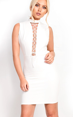 View the Marivtz Lace Up Bodycon Dress online at iKrush
