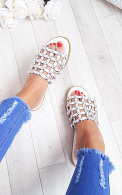 View the Luisa Studded Caged Open Toe Sliders online at iKrush