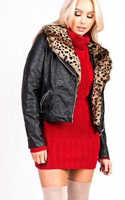 View the Alana Faux Fur Leather Biker Jacket online at iKrush