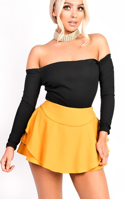 View the Lexia Ribbed Frill Off Shoulder Stretch Bodysuit online at iKrush
