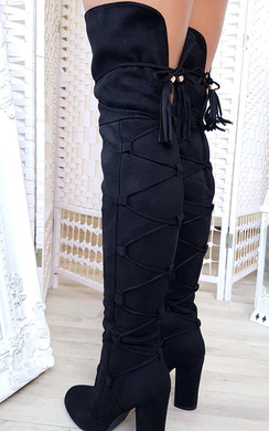 View the Lizzy Faux Suede Lace Up Knee High Boots  online at iKrush