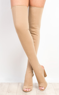 View the Kylie Peep Toe Knee High Boots online at iKrush