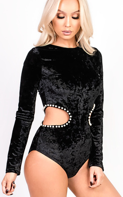 View the Jasmine Cut Out Beaded Bodysuit online at iKrush