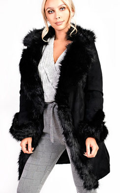 View the Toula Faux Suede Fur Longline Jacket online at iKrush
