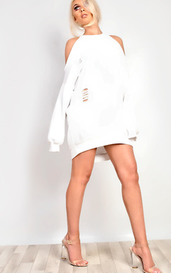 View the Aiman Oversized Ripped Jumper Dress online at iKrush