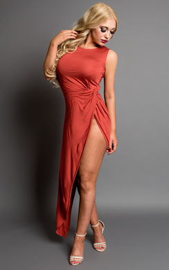 View the Sage Side Split Maxi Dress online at iKrush