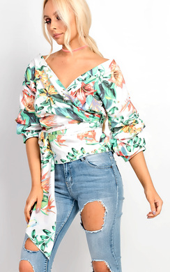 View the Steffani Floral Ruffle Sleeve Wrap Tie Front Shirt online at iKrush