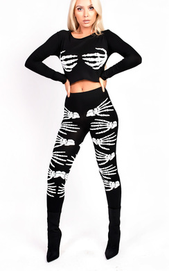View the Skeleton Hands Fancy Dress Leggings online at iKrush