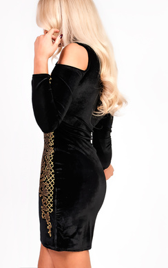 View the Kassy Sequin Baroque Velvet Dress online at iKrush