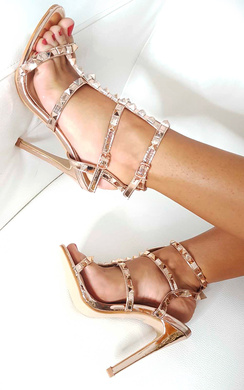 View the Anya Faux Suede Studded Heels online at iKrush