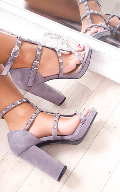 View the Layla Strappy Faux Suede Studded Block Heels online at iKrush