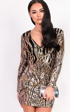 View the Mollie Long Sleeved Sequin Dress online at iKrush