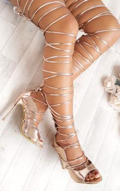 View the Saskia Metallic Lace Up Heels online at iKrush