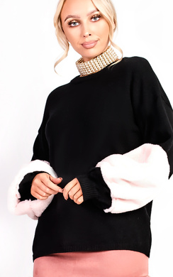 View the Sophie Velour Faux Fur Knit Sleeve Jumper online at iKrush