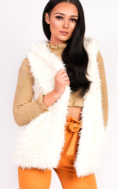 View the Alisa Faux Fur Hooded Waistcoat online at iKrush