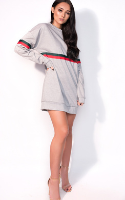 View the Meghan Striped Sleeve Oversized Jumper Dress online at iKrush