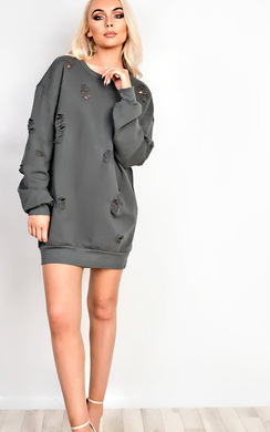 View the Bloom Oversized Ripped Jumper Dress online at iKrush