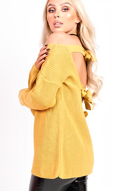 View the Polly Knitted Scoop Tie Back Jumper online at iKrush