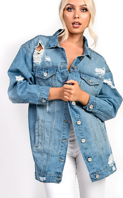 View the Veriana Distressed Denim Jacket  online at iKrush