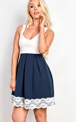 View the Nadia Lace Bodice Skater Dress online at iKrush