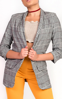 View the Celeste Checked Ruched Sleeve Blazer online at iKrush