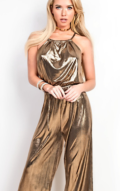 View the Ainsley Metallic Ribbed Jumpsuit online at iKrush