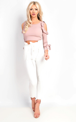 View the Kiah Cold Shoulder Frill Crop Top online at iKrush