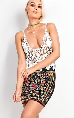 View the Klaudia Floral Embroidered Mini Skirt online at iKrush