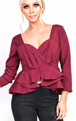 View the Haylia Longed Sleeve Peplum Top  online at iKrush