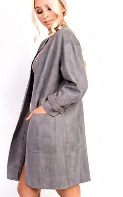 View the Carmellia Collarless Faux Suede Jacket online at iKrush