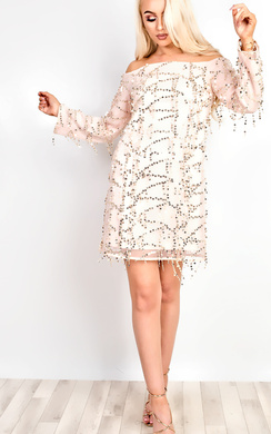 View the Venus Embellished Off Shoulder Bodycon Dress online at iKrush